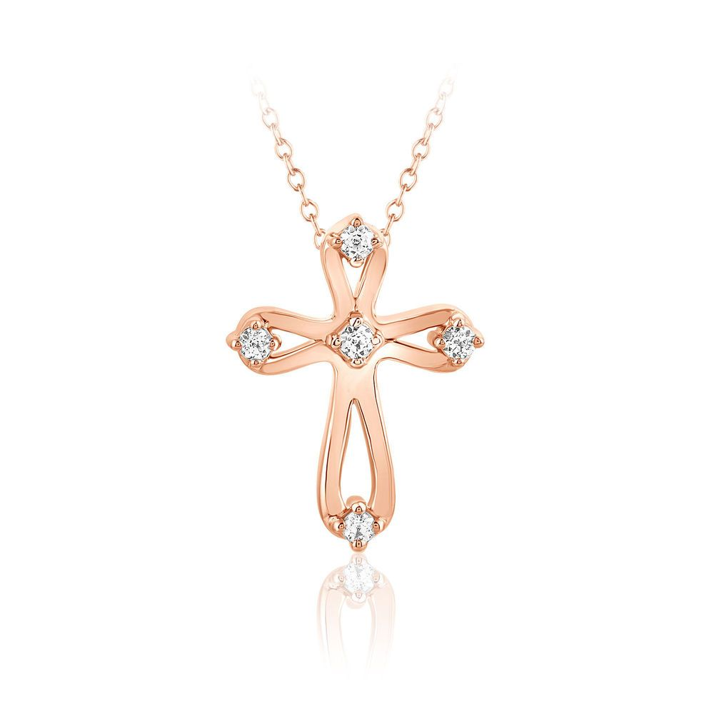 Diamond Cross Pendant Necklace Solid 10k Rose Gold 16 Chain Womens Gift Fashion Caratsforyou Pen Diamond Cross Pendants Cross Pendant Cross Pendant Necklace