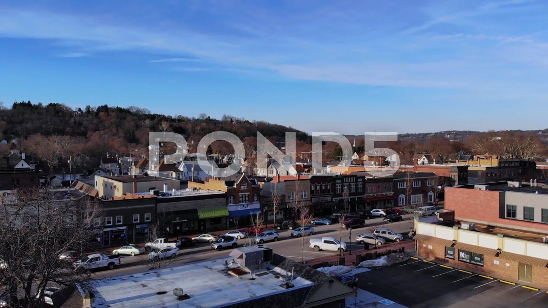 Slow Rising Aerial View of Small Town Business District #AD ,#View#Small#Aerial#Slow