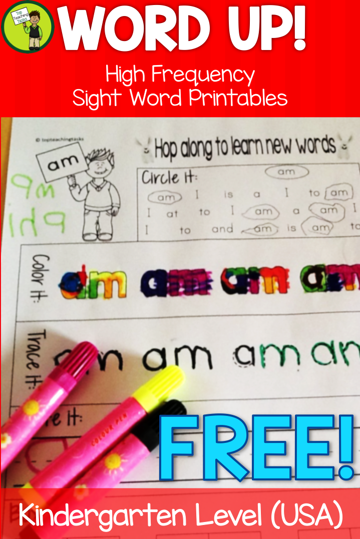 FREE Ten Kindergarten Sight Word Printables. This FREEBIE contains ...