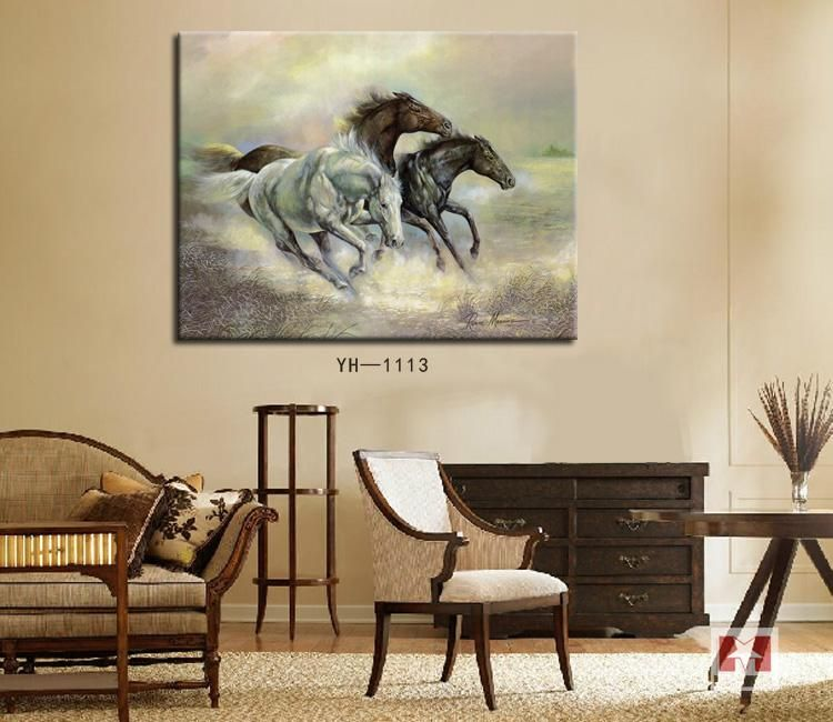 3pcs Horse Canvas Painting Large Wall Hanging Art Living Room Den Decorating Pictures Unframed