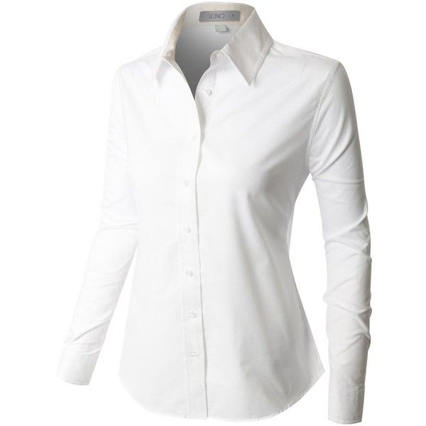 LE3NO PREMIUM Womens Easy Care Long Sleeve Button Down Work Shirt ...