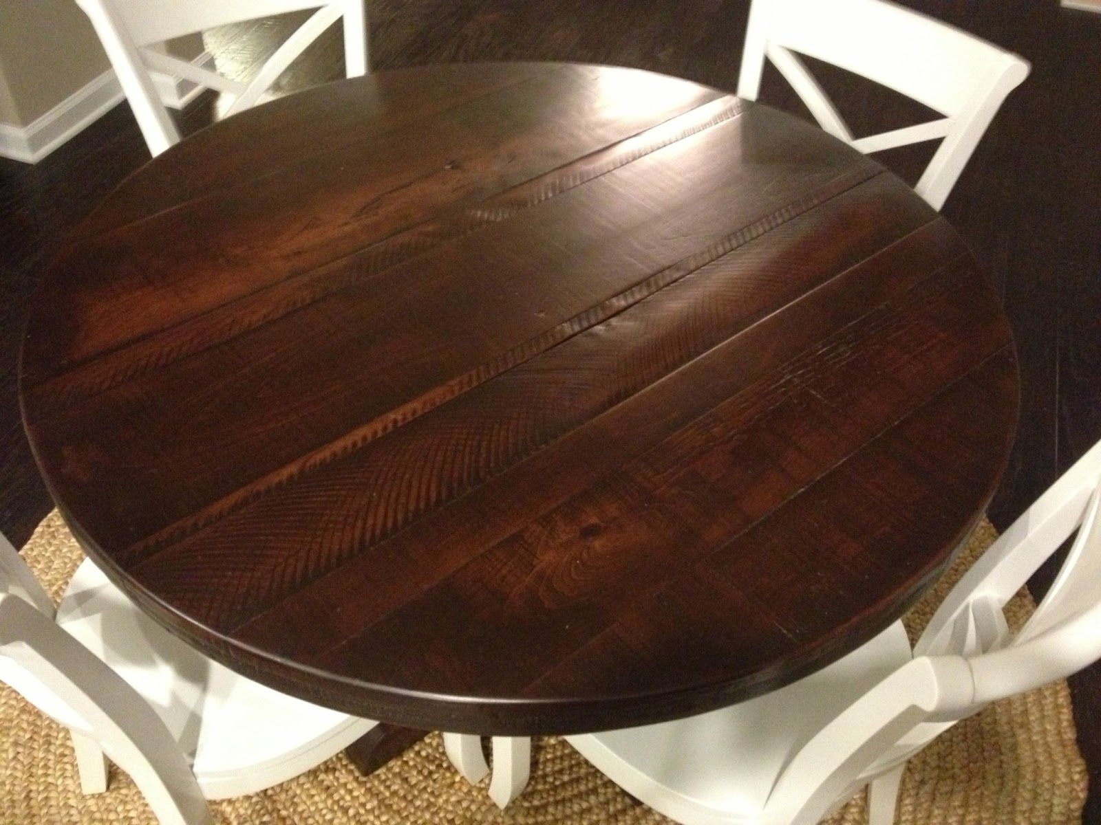 rustic round dining table. Round Rustic Pedestal Table- Dark Finish - Eclectic Dining Tables Atlanta By Trades Furniture Table C
