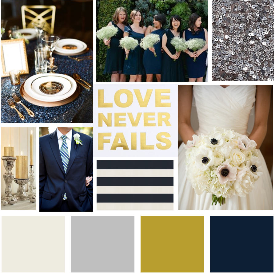 navy, gold & silver wedding inspiration board i created with