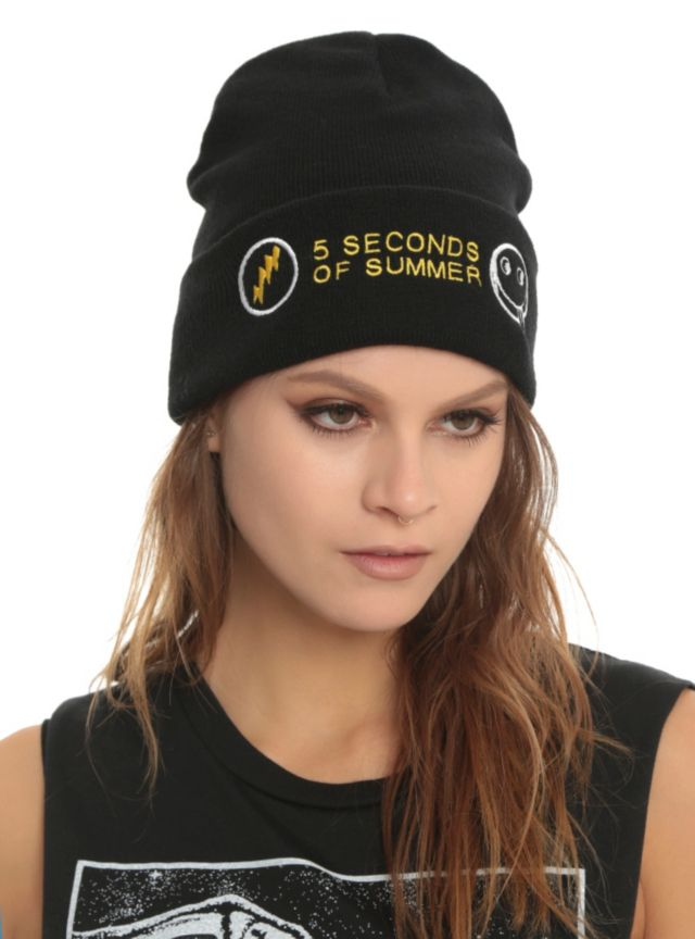 Black knit watchman beanie with embroidered 5 Seconds Of Summer design.