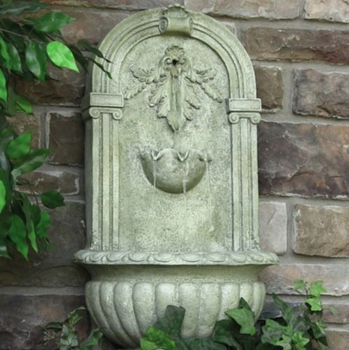 Outdoor Solar Florence Wall Fountain French Limestone Finish Yard Water Feature