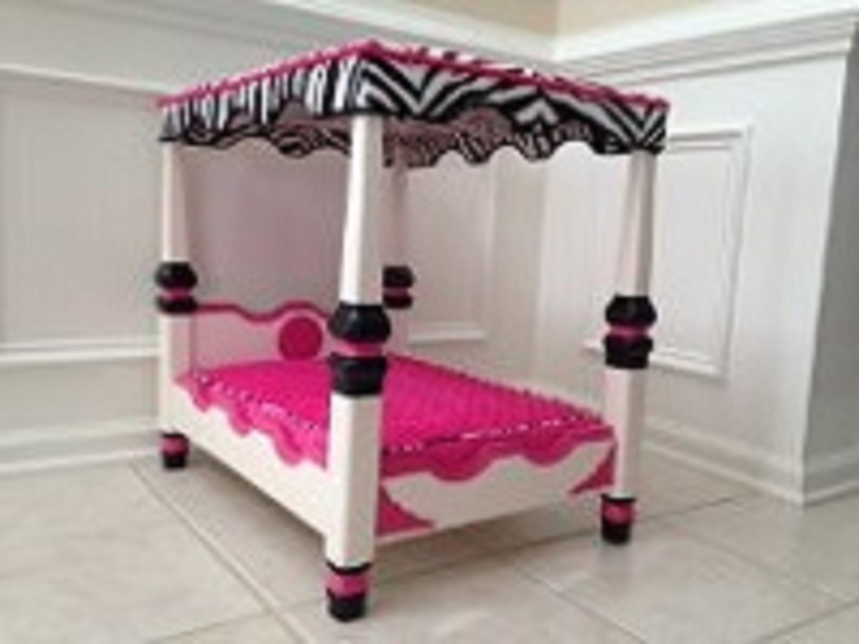 Pink, Black, White Four Poster Canopy Pet Bed. Four poster canopy bed is