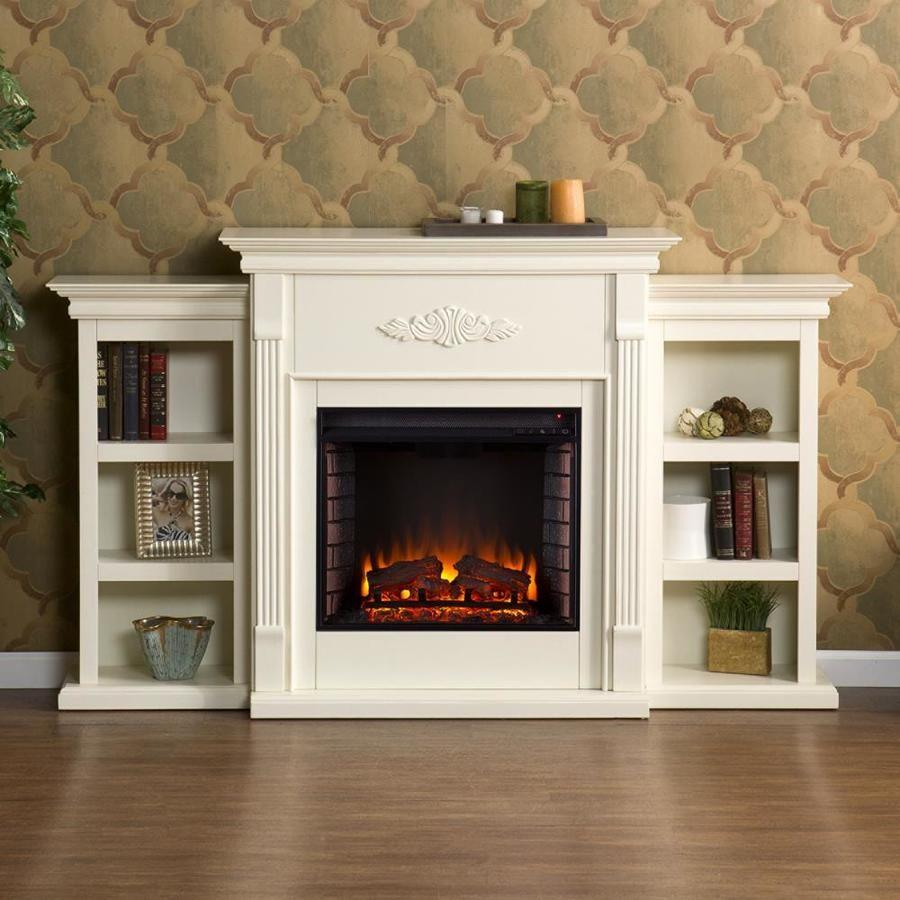 Boston Loft Furnishings 70 25 In W Ivory Fan Forced Electric Fireplace Lowes Com Fireplace Bookcase Electric Fireplace White Electric Fireplace