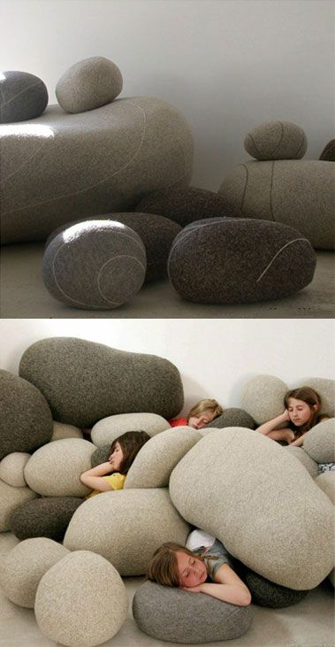 Rock Pillows...if I had a sunken living room, I would fill it with these.