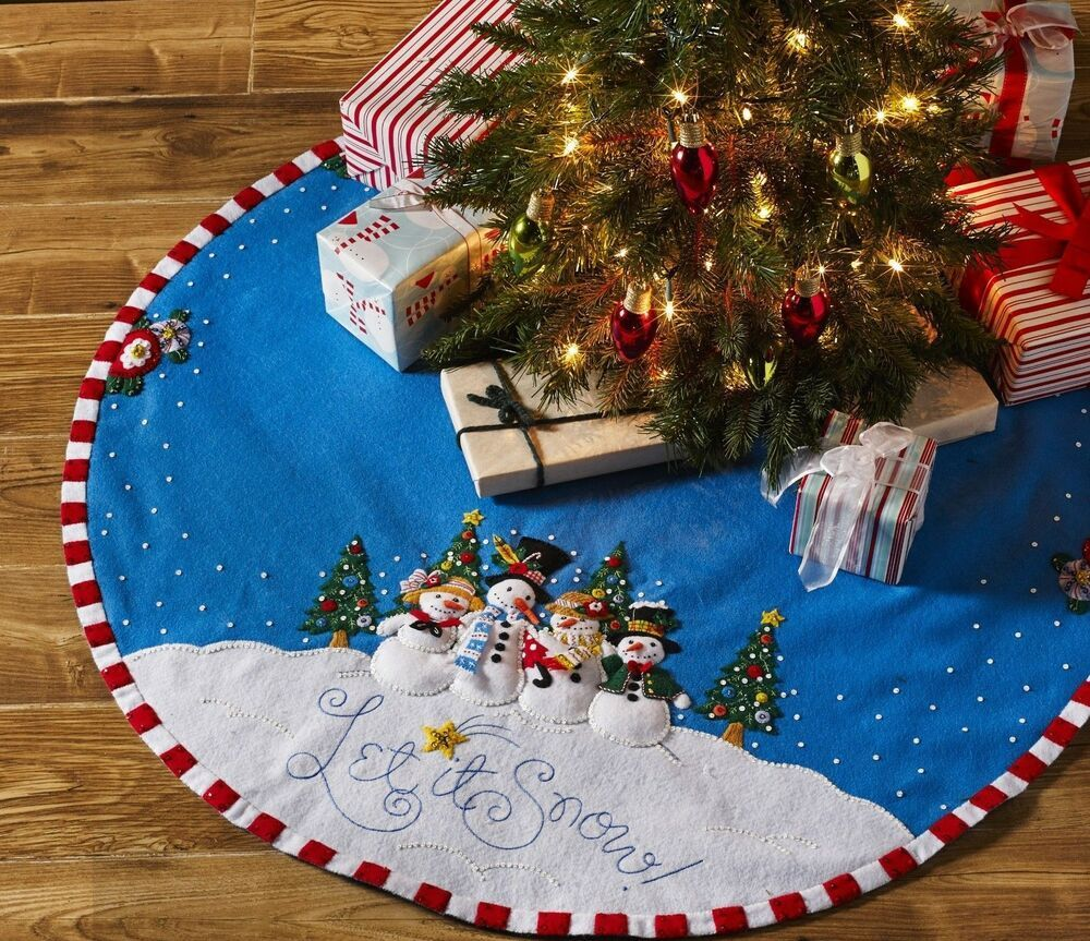 """12/"""" Mini Small Christmas Tree Skirt Xmas Holiday Candy Cane Felt"""