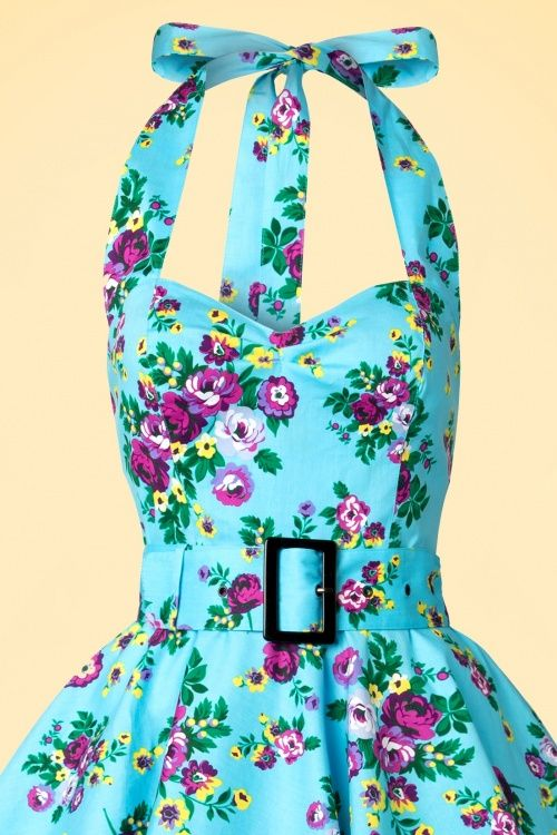 bd6b748a98a5 50s May Day Halter Swing Dress in Sky Bue | Mad Men dresses | Swing ...