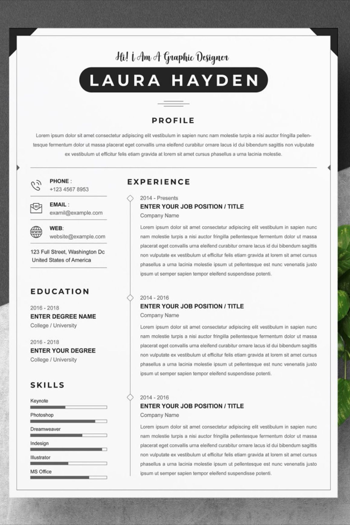 Modern 2 pages Word resume pack Resume, Modern resume