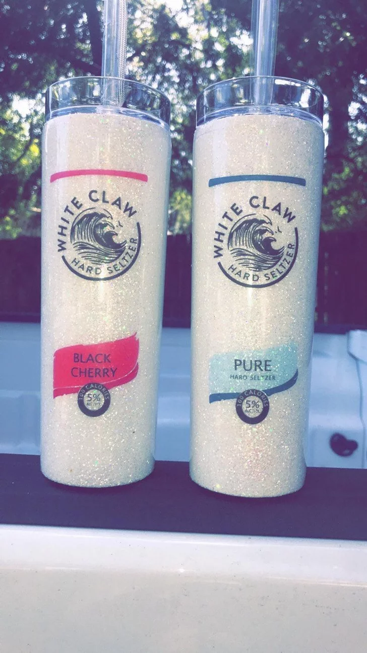 In News That We Absolutely Needed Today You Can Get Glittery White Claw Tumblers On Etsy Tumbler Pure Products Hard Seltzer