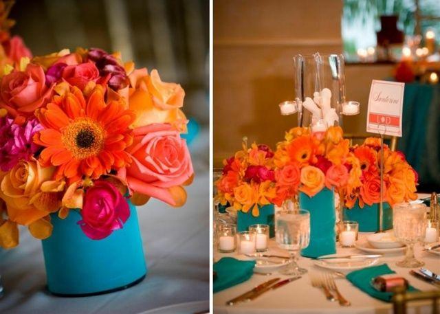 Blaue Vase Tischdeko Ideen Rosen Orange Gerbera Flowers