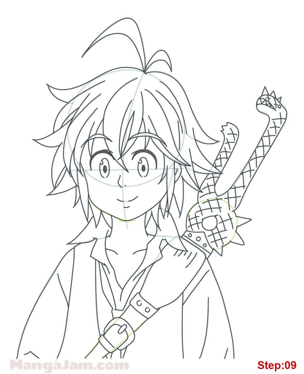 How To Draw The Seven Deadly Sins : seven, deadly, Meliodas, Nanatsu, Taizai, MANGAJAM.com, Anime, Character, Drawing,, Dragon, Super, Artwork,, Design