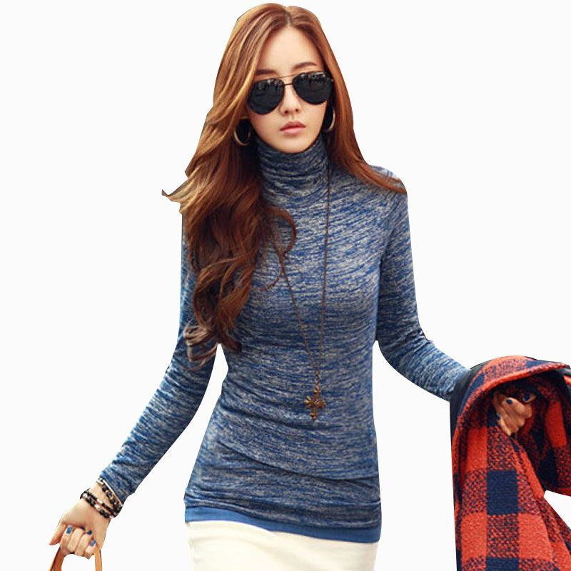 New Autumn Winter Woman Lady casual basic turtleneck cotton t shirt top  full sleeve T-shirt blusas thick fashion plus size. Sweaters ... 5215e0990