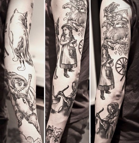 grimm 39 s fairy tales sleeve by niki norberg tattoos piercings pinterest tattoo tatting. Black Bedroom Furniture Sets. Home Design Ideas