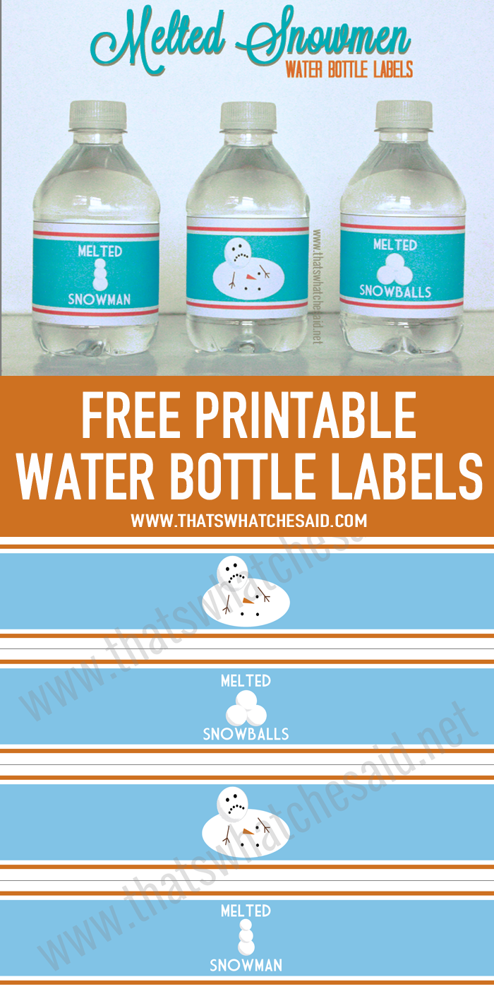 graphic relating to Melted Snowman Water Bottle Labels Free Printable named Melted Snowman Drinking water Bottle Labels Printables Printable