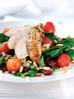 spinach, chicken, pine nut salad