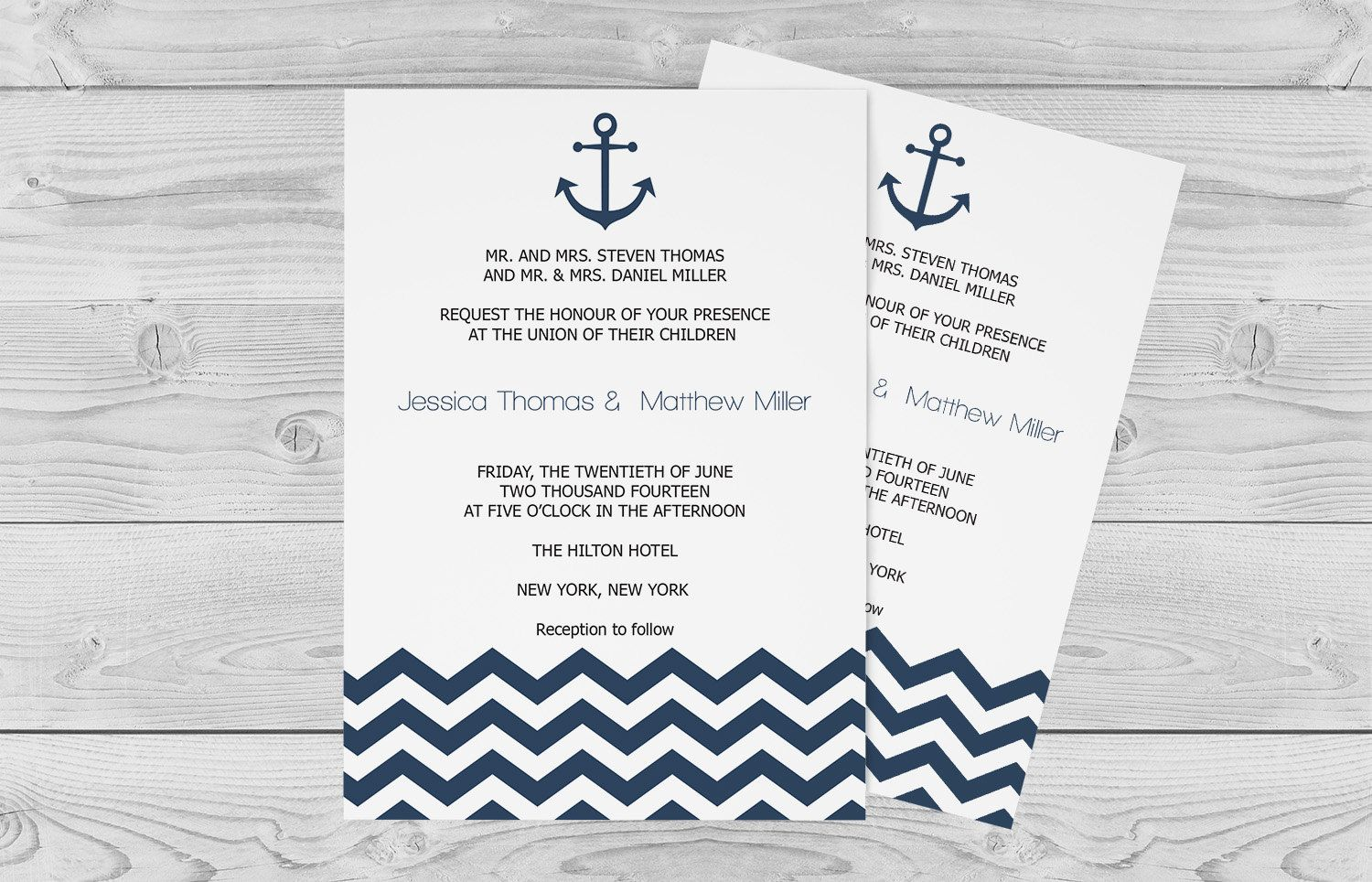 Nautical Wedding Invitation Template - 4 x 4 Navy Anchor Chevron