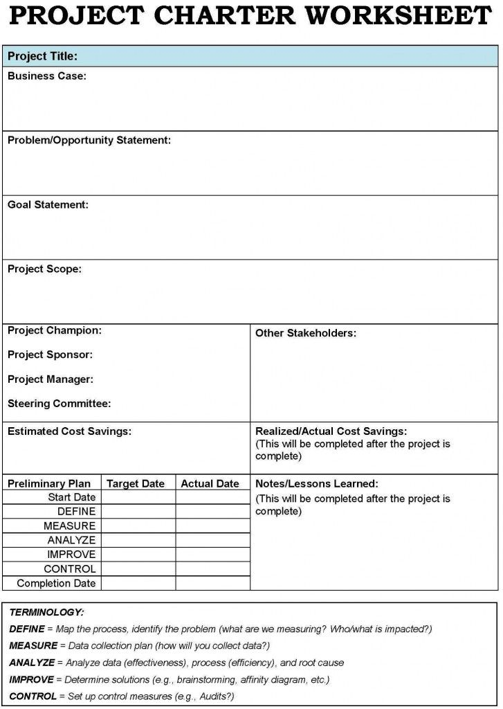 Project Charter Template Project Management Pinterest Project