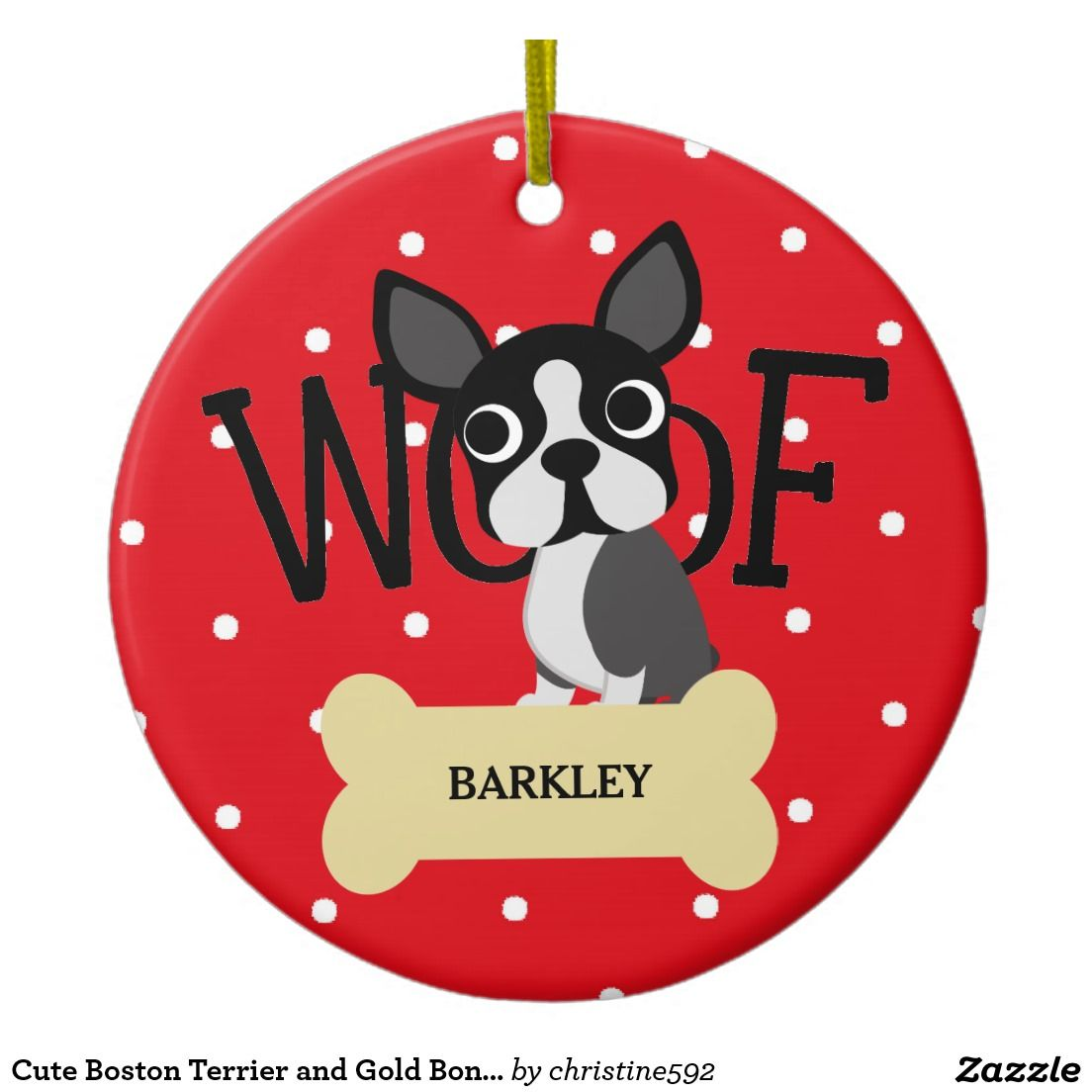 Cute Boston Terrier And Gold Bone And Red Dots Ceramic