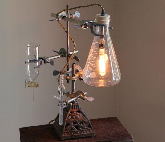 Industrial Desk Lamp Steampunk Flower Vase Lighting Antique Etsy Industrial Desk Lamp Steampunk Lamp Lamp
