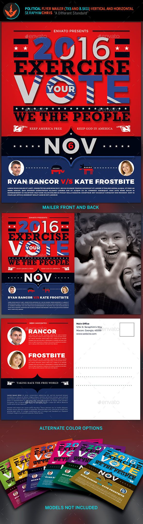 exercise your vote political flyer mailer template corporate