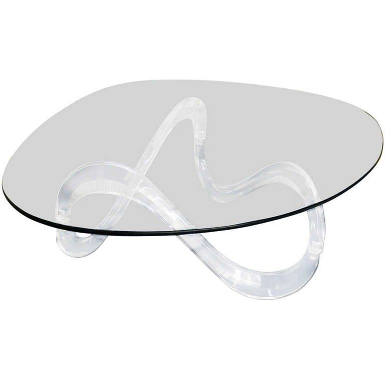 Kidney Shaped Glass Top Lucite Base Coffee Table Shapes Coffee