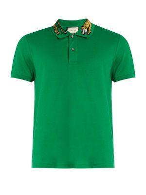 e228ee3bbe Tiger embroidered-collar piqué polo shirt