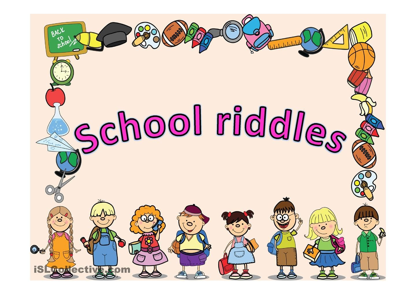 School Riddles Review The School Objects With Elementary