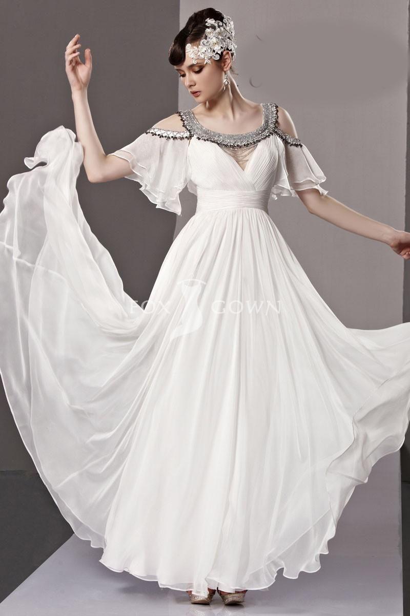 New design unique chiffon white full length long prom dress with new design unique chiffon white full length long prom dress with beading neckline ombrellifo Gallery