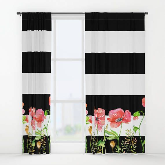 Bold Stripe And Fl Window Curtains