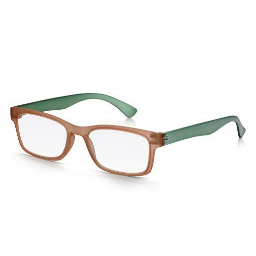 Read Optics Mens and Womens Matt Crystal Brown and Green Super Light Rectangle Reading Glass