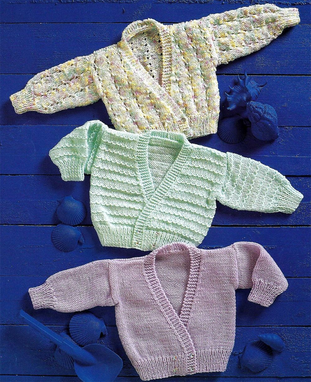 PDF Instant Digital Download 3 baby cardigans double knit 4 ply ...