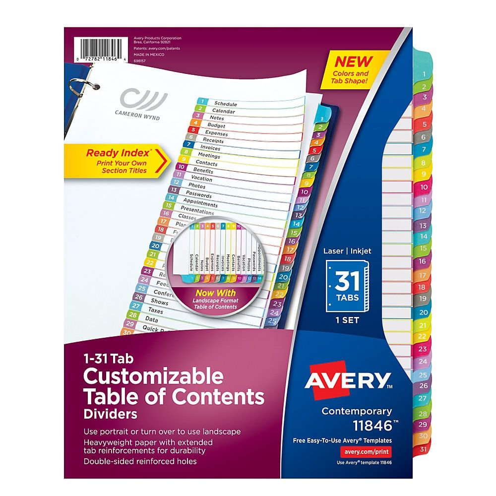 """Avery Ready Index Table Of Contents Dividers, 8 1/2"""" x 11"""
