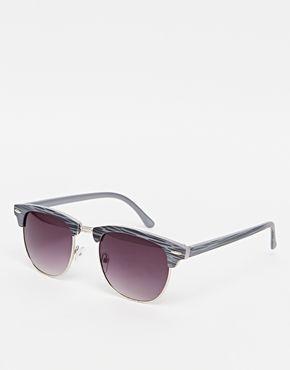 Gafas de sol clubmaster en gris con estampado de River Island