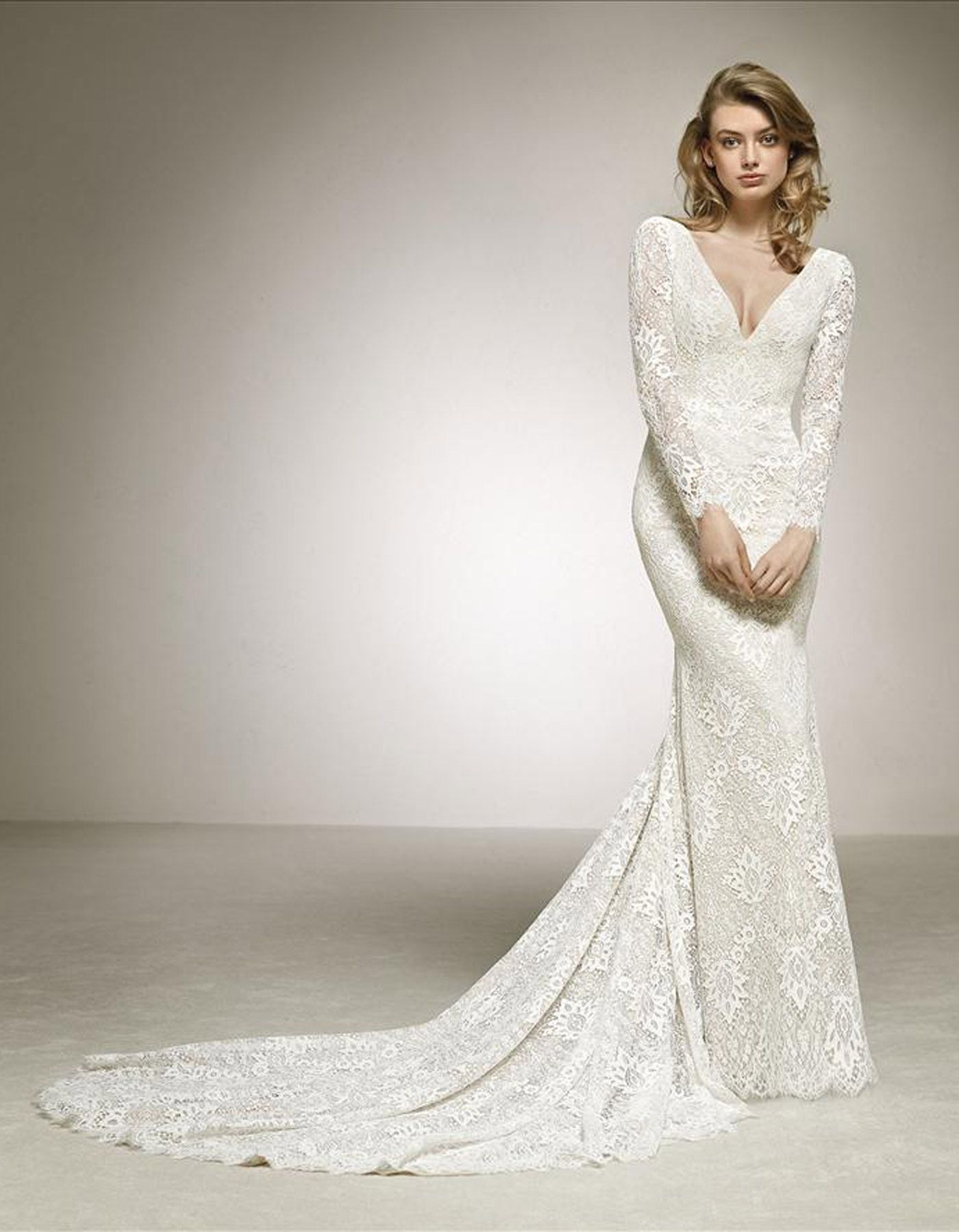 Dances By Pronovias Long Sleeved Lace Wedding Dress With
