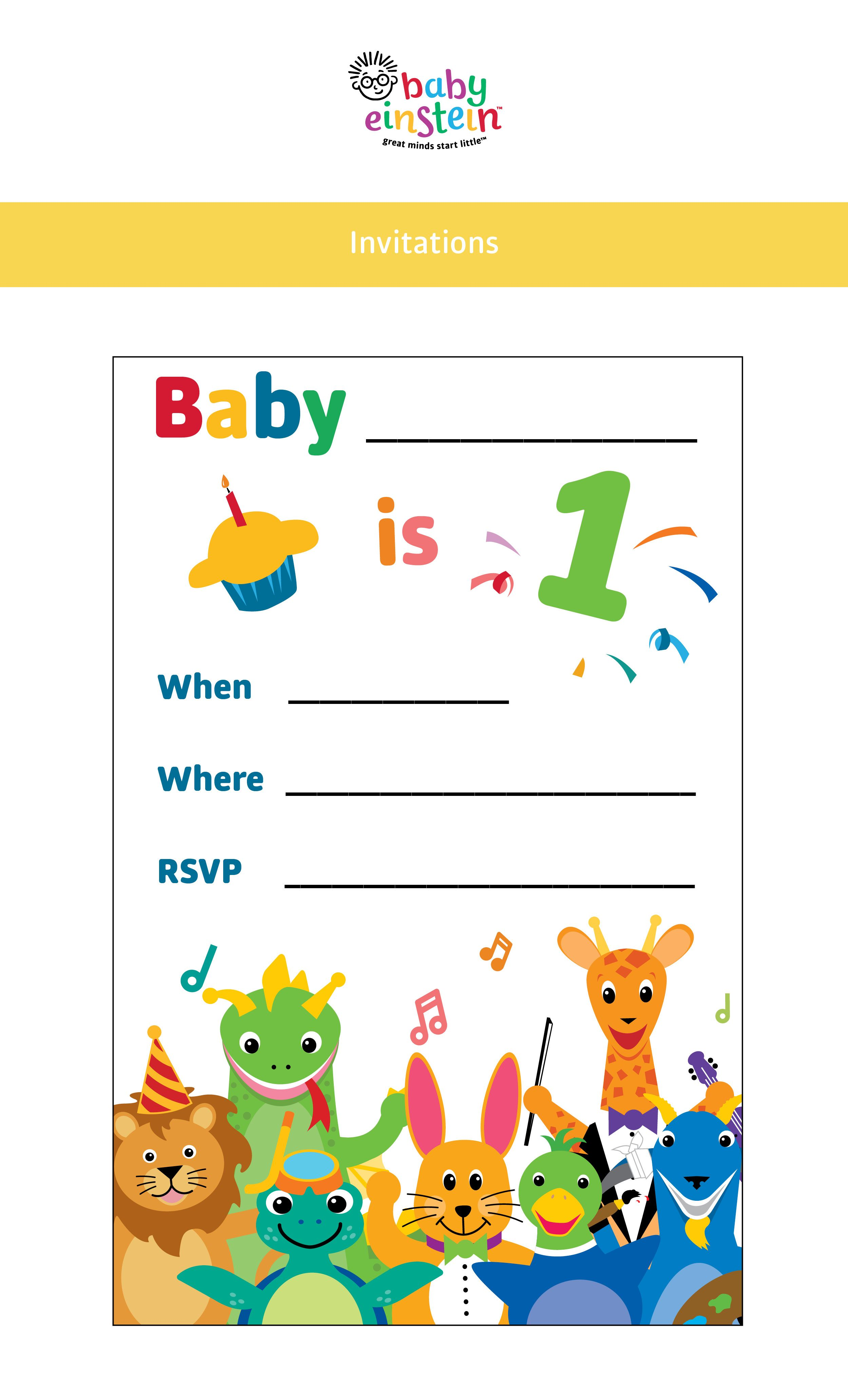 Adorable Baby Einstein Party Invitations Customize With Baby S Party Details Get Printables