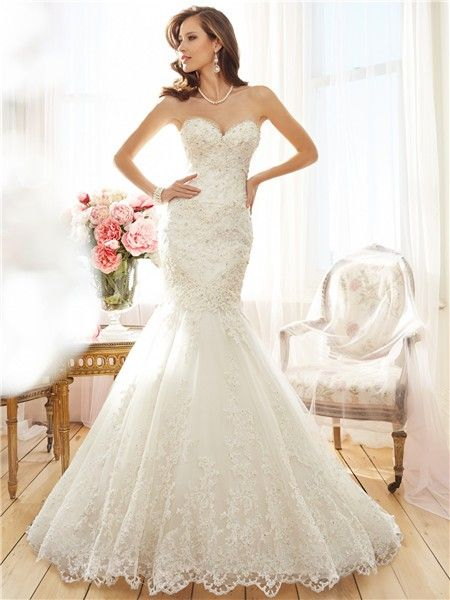 trumpet mermaid strapless sweetheart lace sparkly beaded corset wedding dress