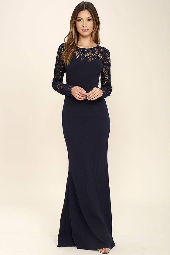 Whenever You Call Navy Blue Lace Maxi Dress In 2020 Long Sleeve Lace Maxi Dress Long Sleeve Bridesmaid Dress Blue Lace Maxi Dress