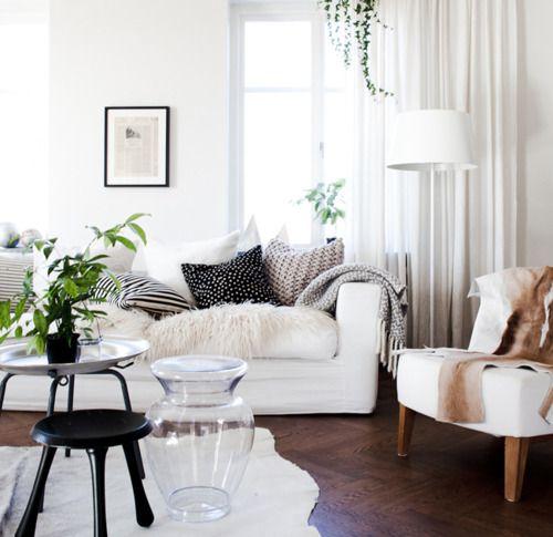 White, throws, pillows