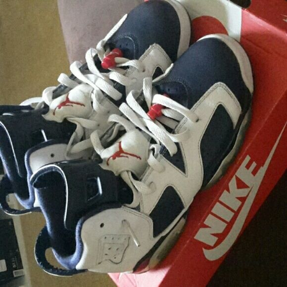 Olympic 6s ( Jordans ) 7y 8/10 condition Replacement box  Needs a little cleaning  Replacement insoles Yellowing  No trades...just money unless you ship first Jordan Shoes Sneakers