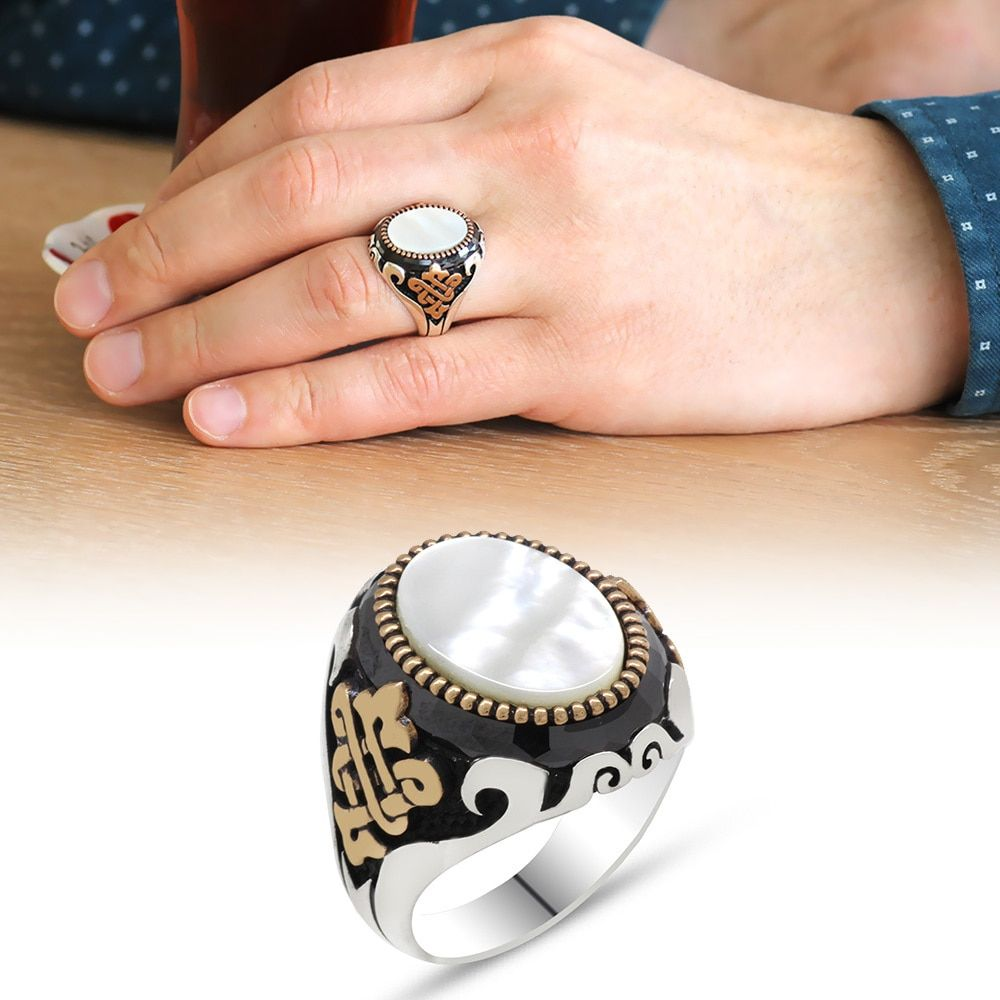 925 sterling silver mens ring with white mother of pearl