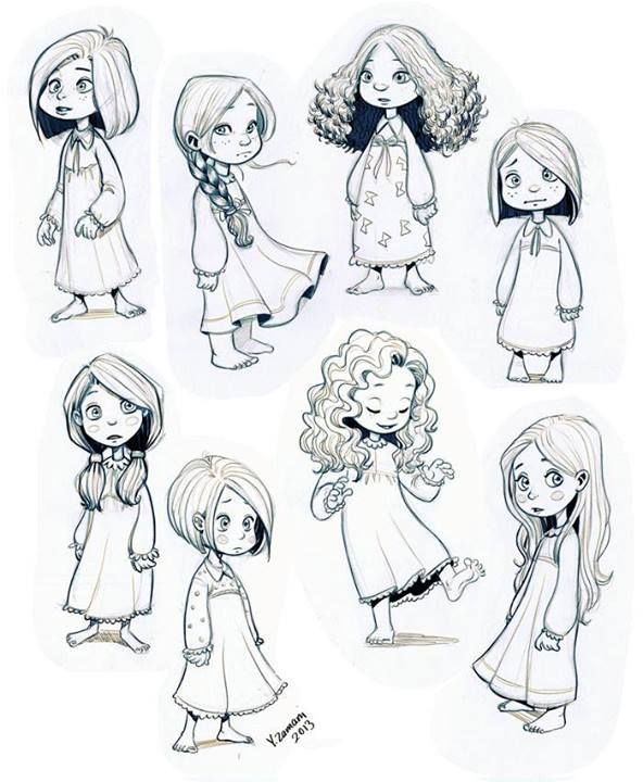 Little Girl Character Design Reference Sheet By Youssef Zamani