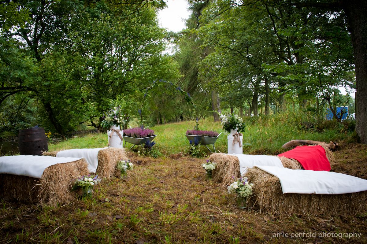 Straw bales, woodland weddings in the country. Photo credit Jamie Penfold, www.farmandcountryvenues.co.uk