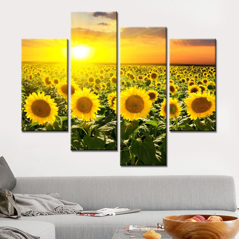 No Frame Wall Pictures for Living Room 4 Pieces Sunflower Oil Canvas ...