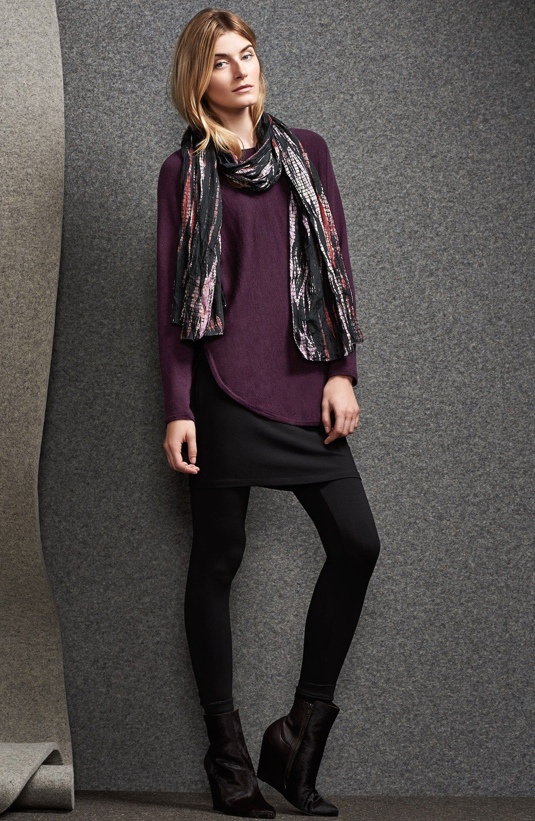 8df200ef4a56f 30s smart casual: Eileen Fisher Skirted Ankle Leggings + top + scarf ...