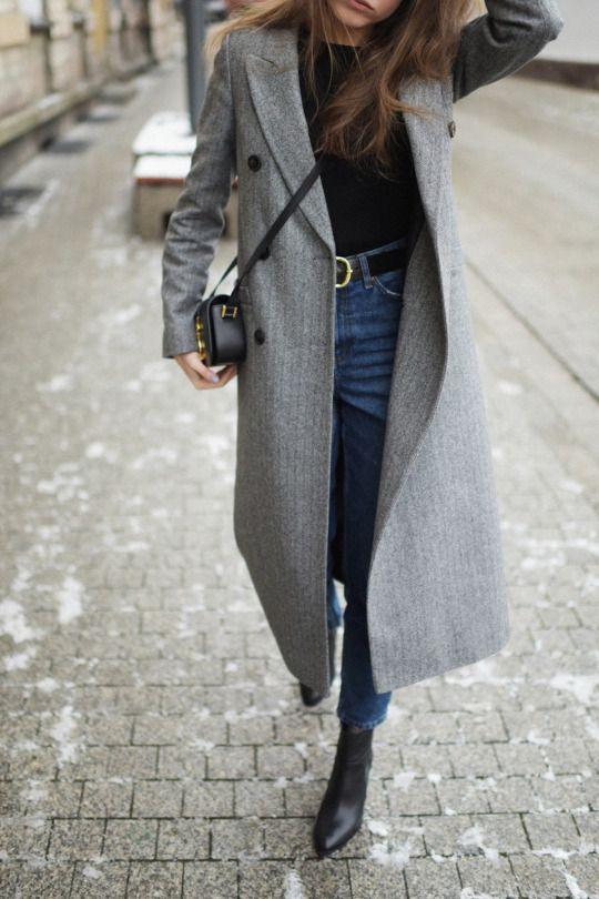Abrigo largo jeans