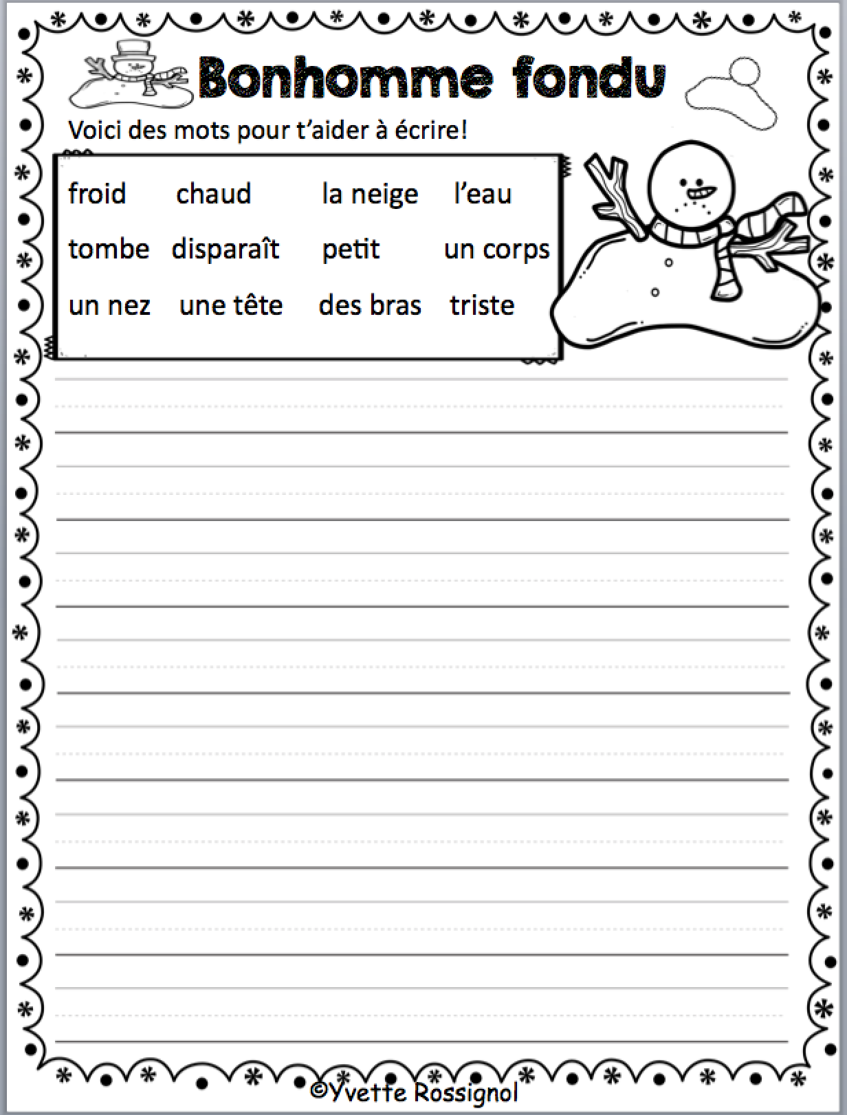 French Winter Writing Prompts With Word Bank And Self Check Rubric