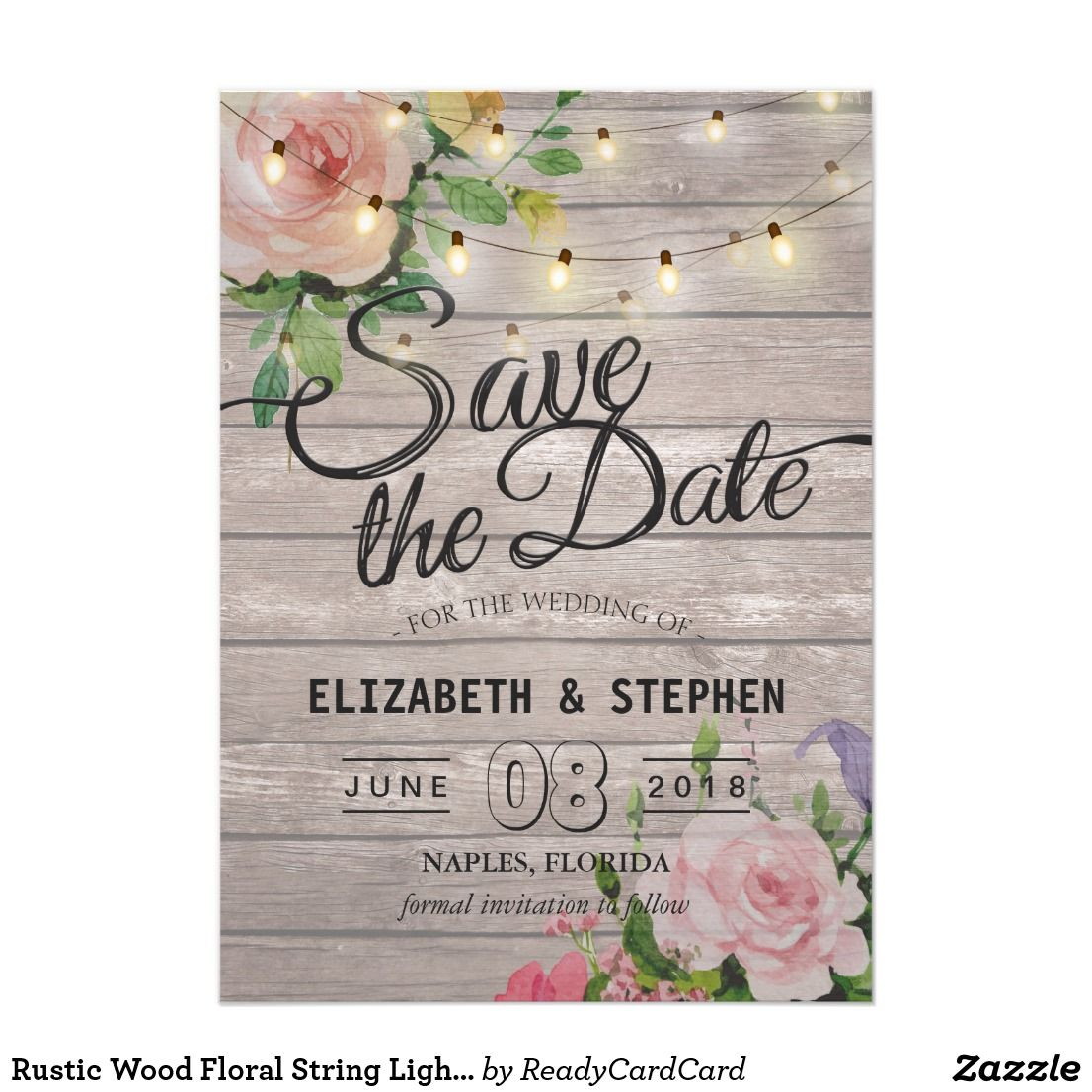 rustic wood floral string lights wedding save date save the date in